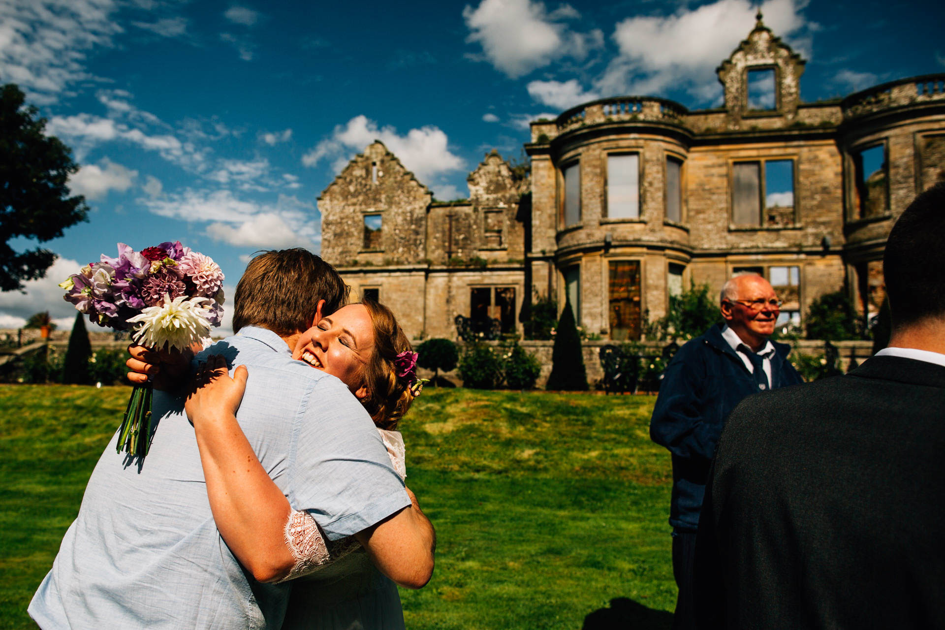 Best wedding photography 2016 - bride hugging outside building ruins