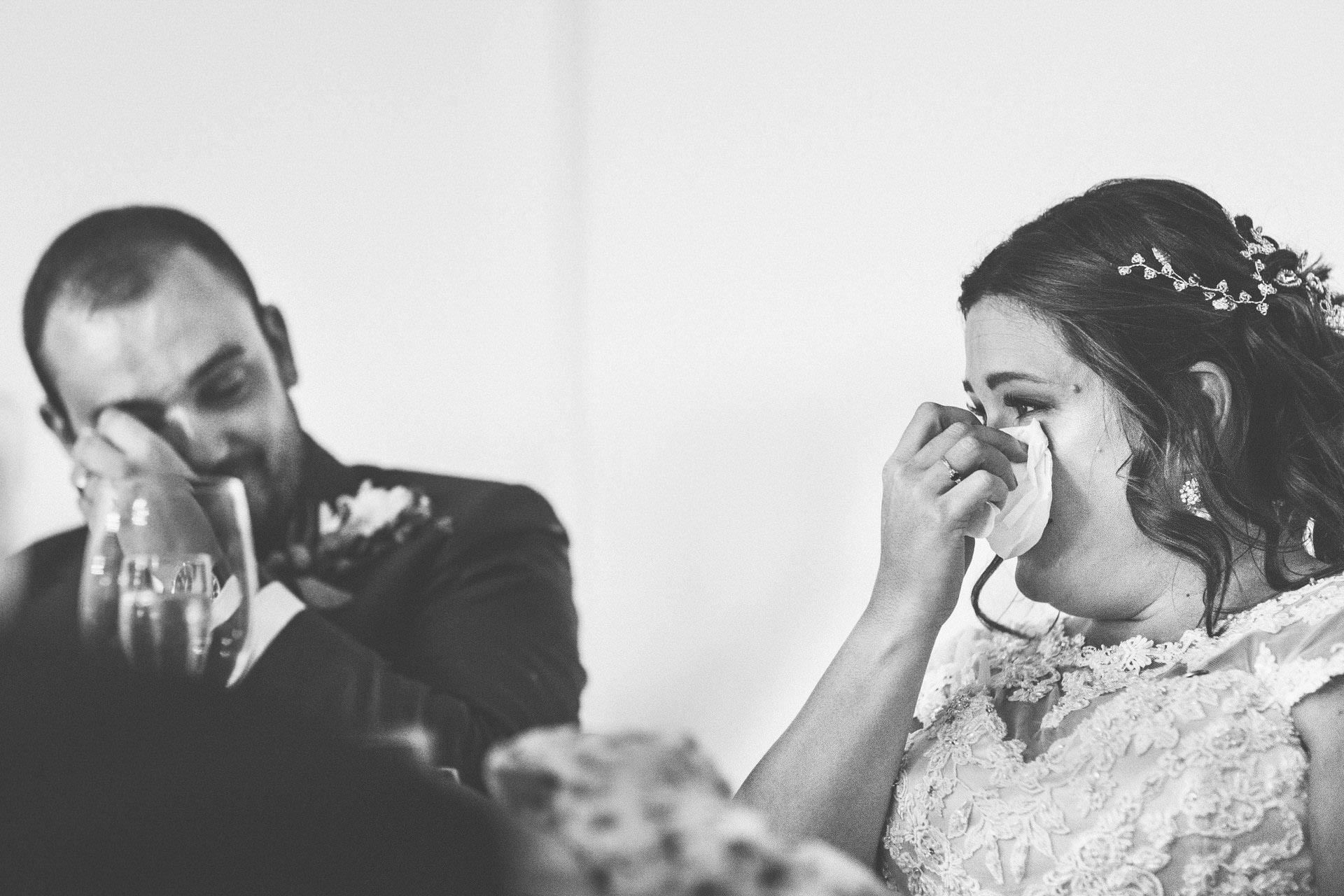 Best wedding photography 2016 - bride crying in speeches, black and white
