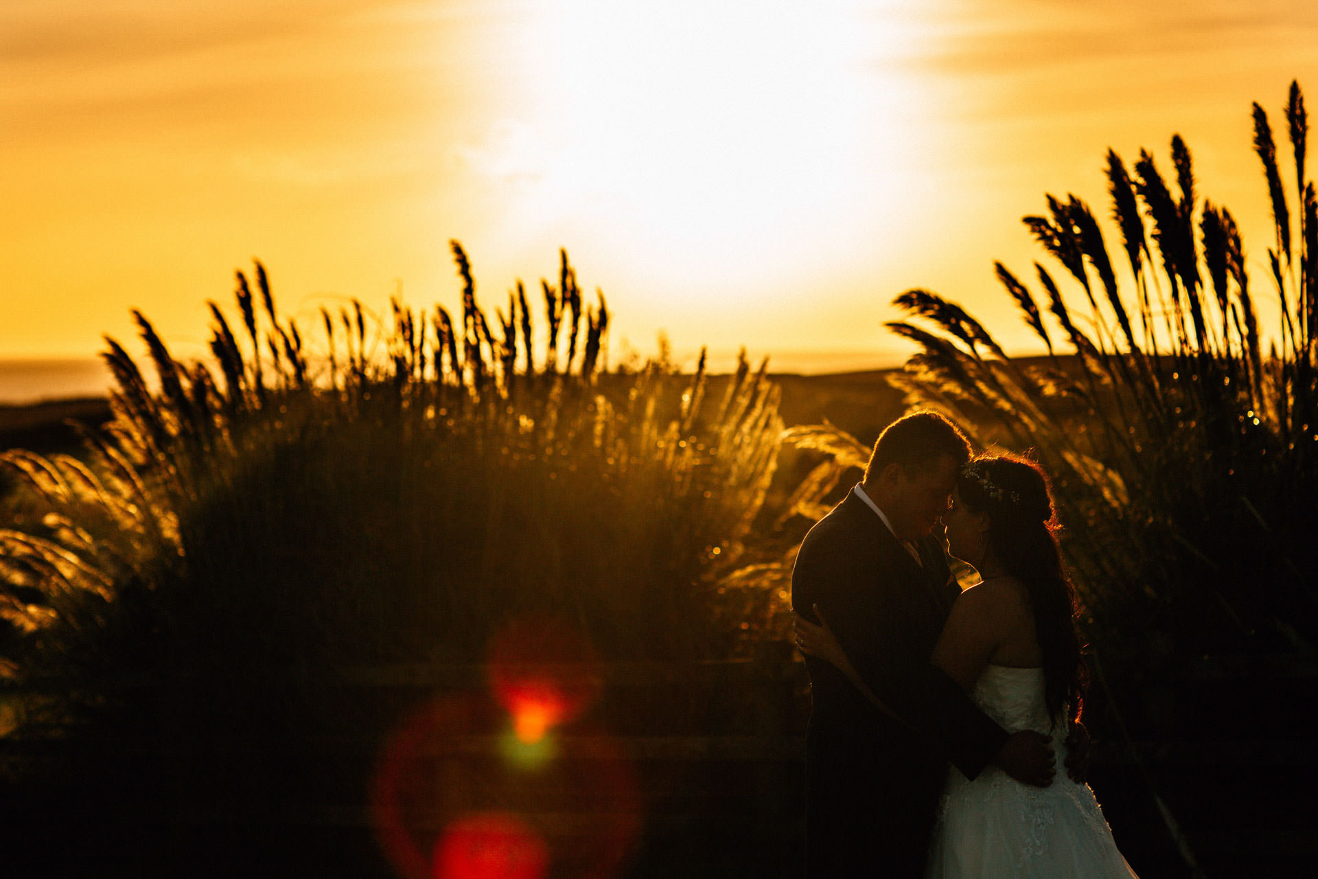 Best wedding photography 2016 - bride and groom embrace at sunset