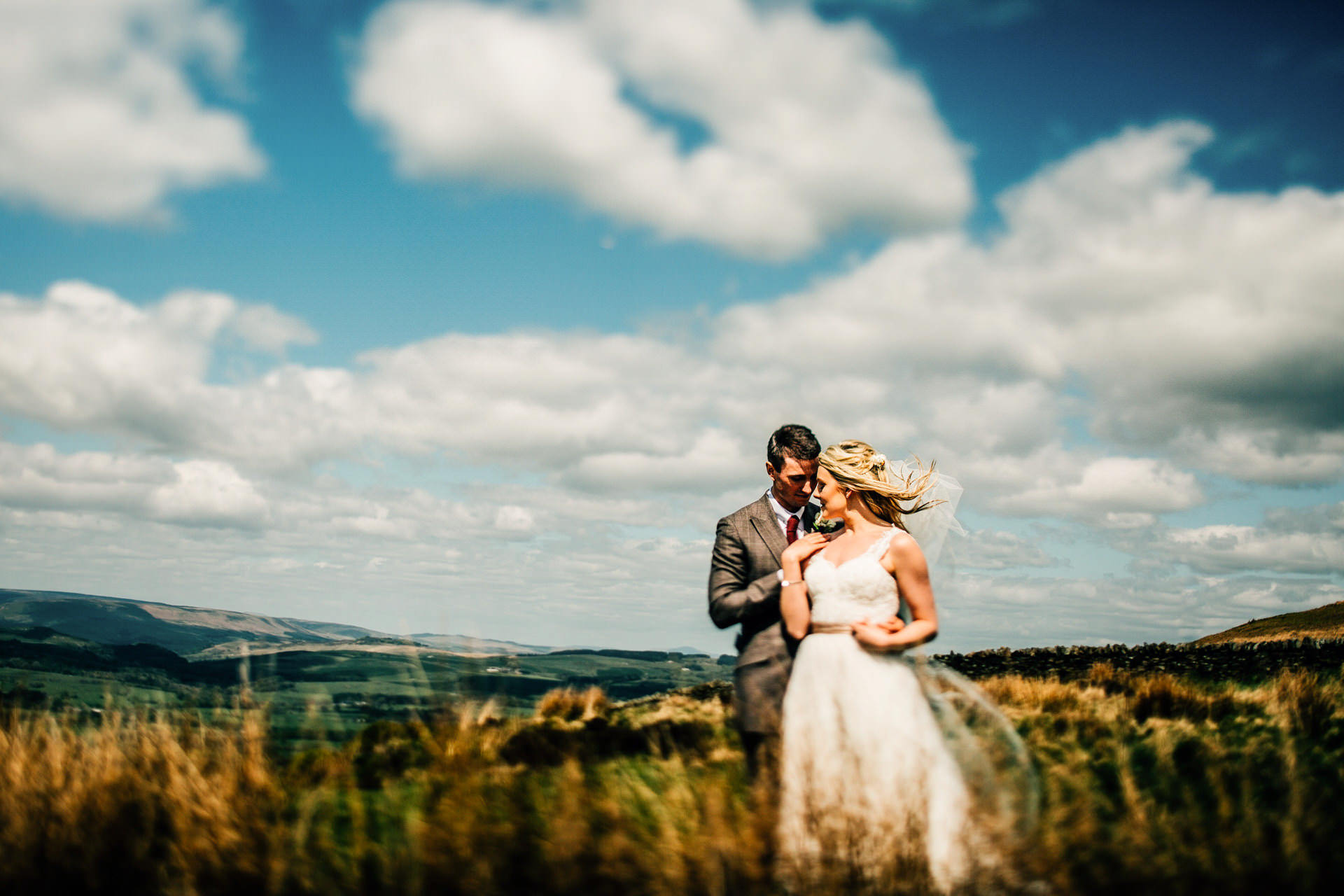 Best wedding photography 2016 - bride and groom portrait in the lancashire hills