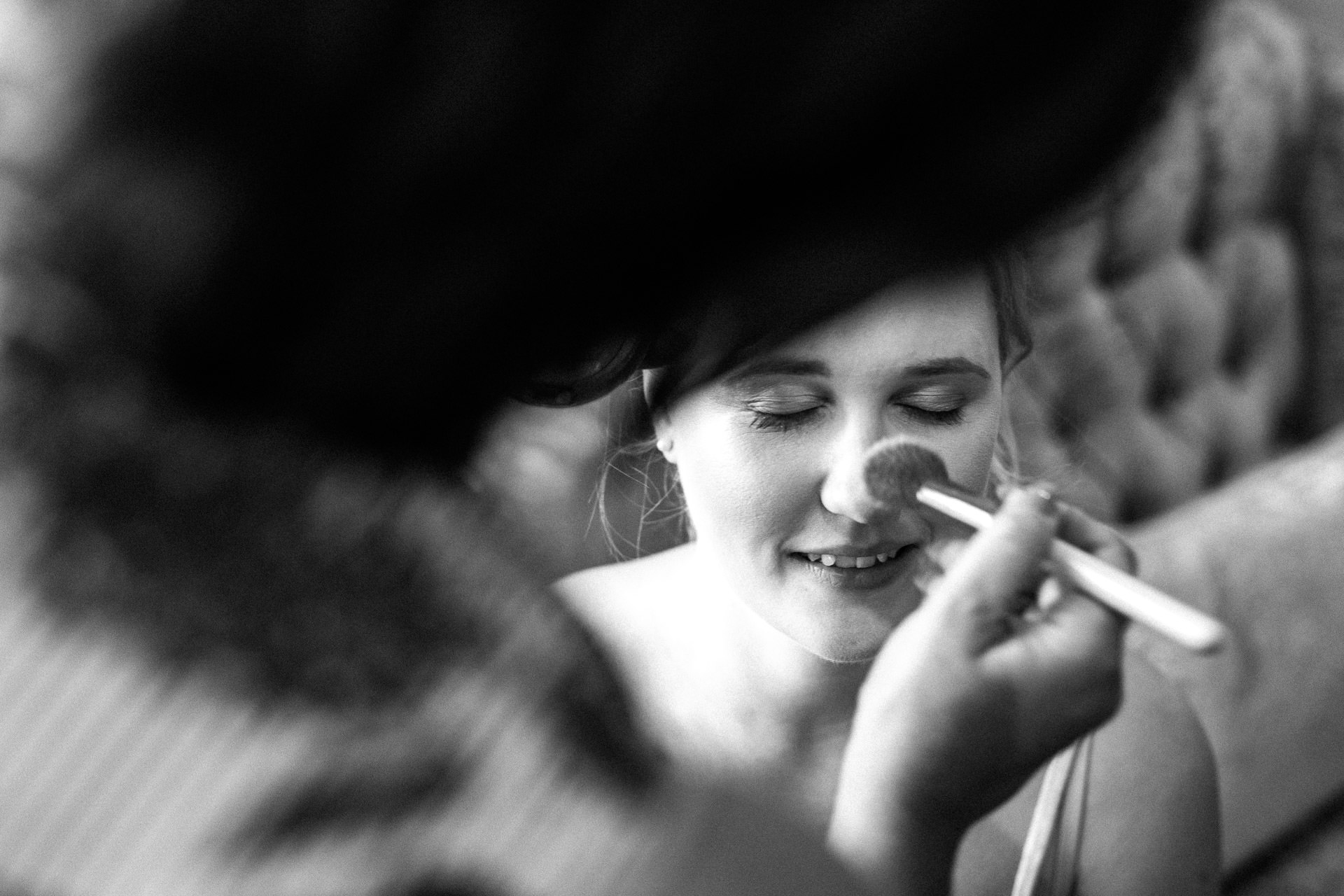 The Wild Boar Wedding Photography - EM - bride having makeup done