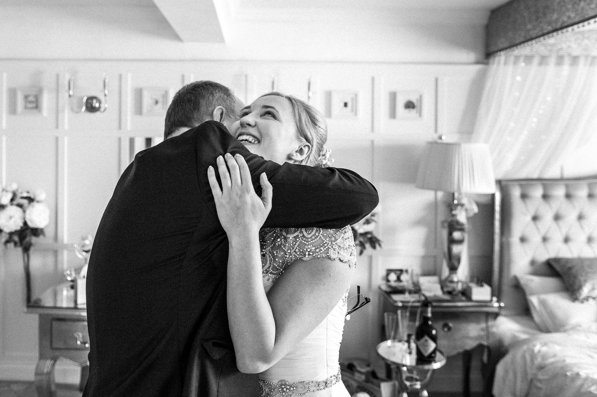 The Wild Boar Wedding Photography - EM - bride hugging her dad