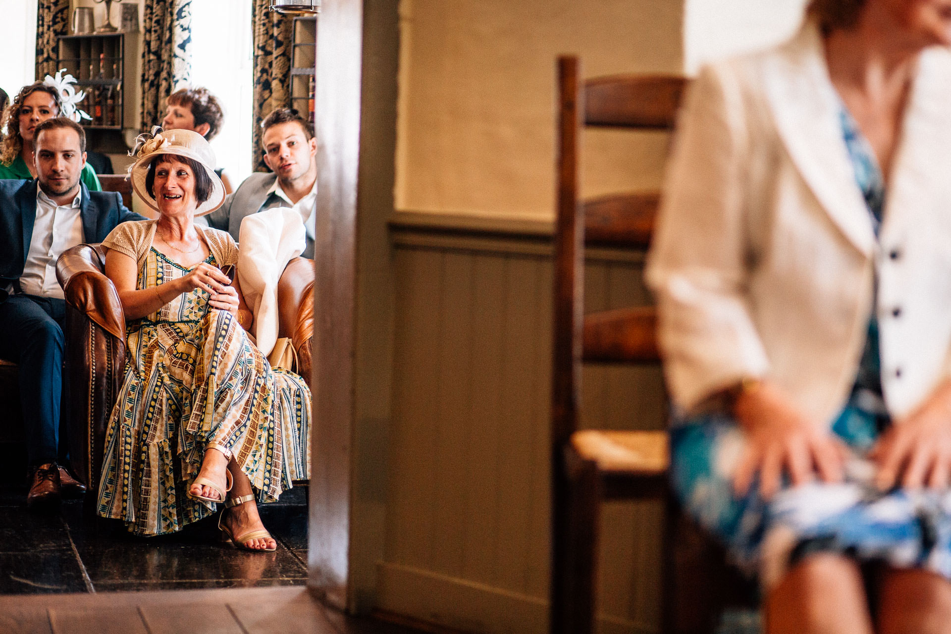 The Wild Boar Wedding Photography - EM - guests waiting for the bride