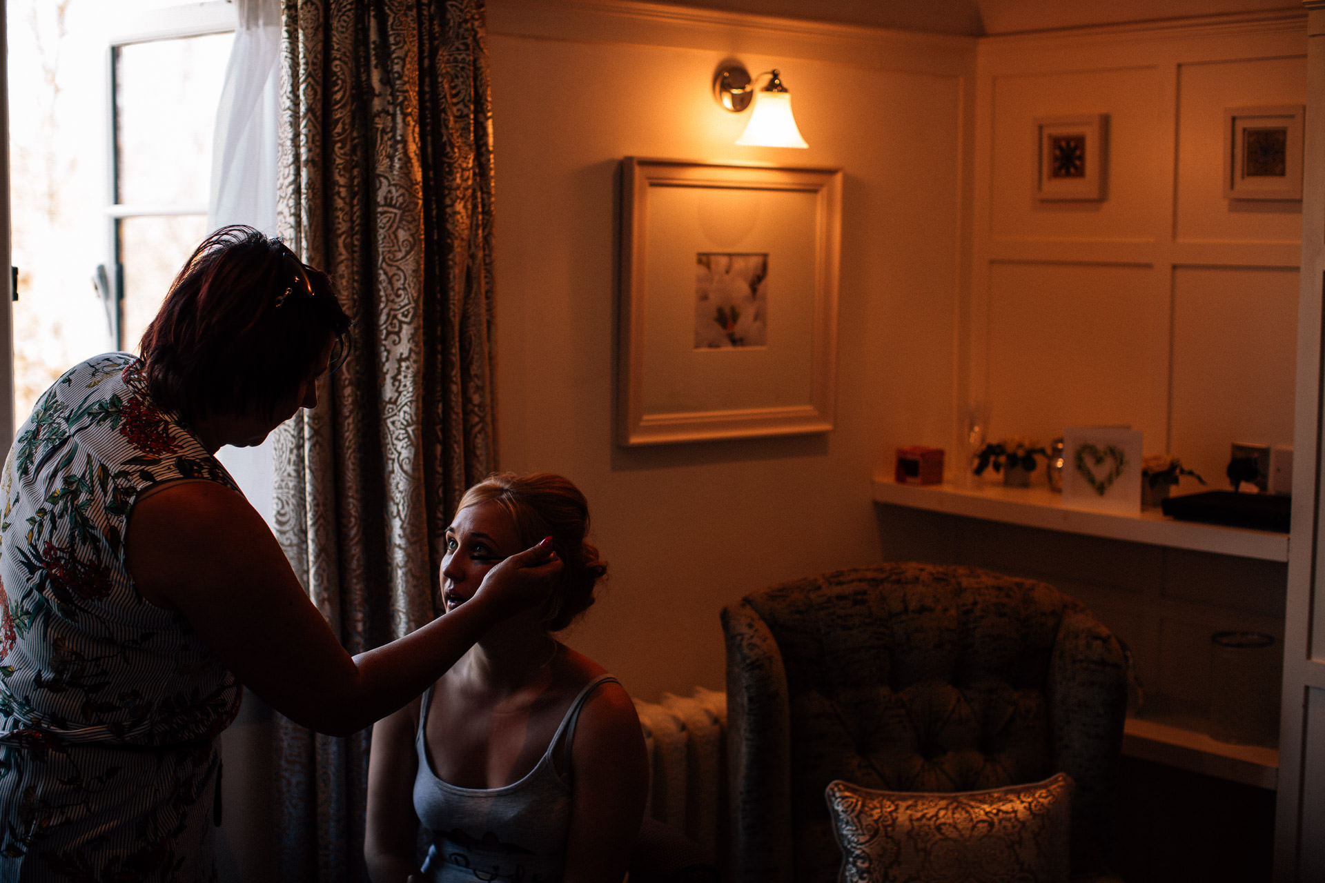 The Wild Boar Wedding Photography - EM - hair being done by the window