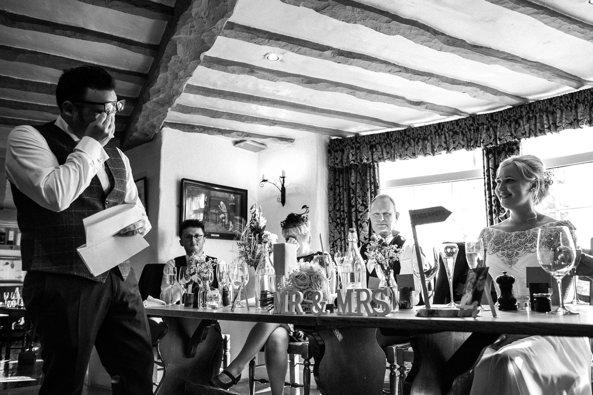 The Wild Boar Wedding Photography - EM - wide shot of speeches