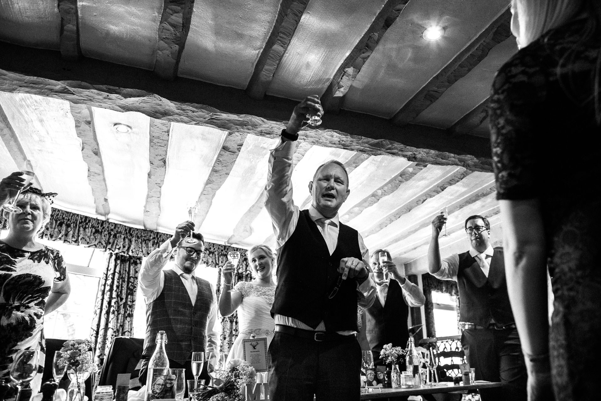 The Wild Boar Wedding Photography - EM - dad toasting after speech