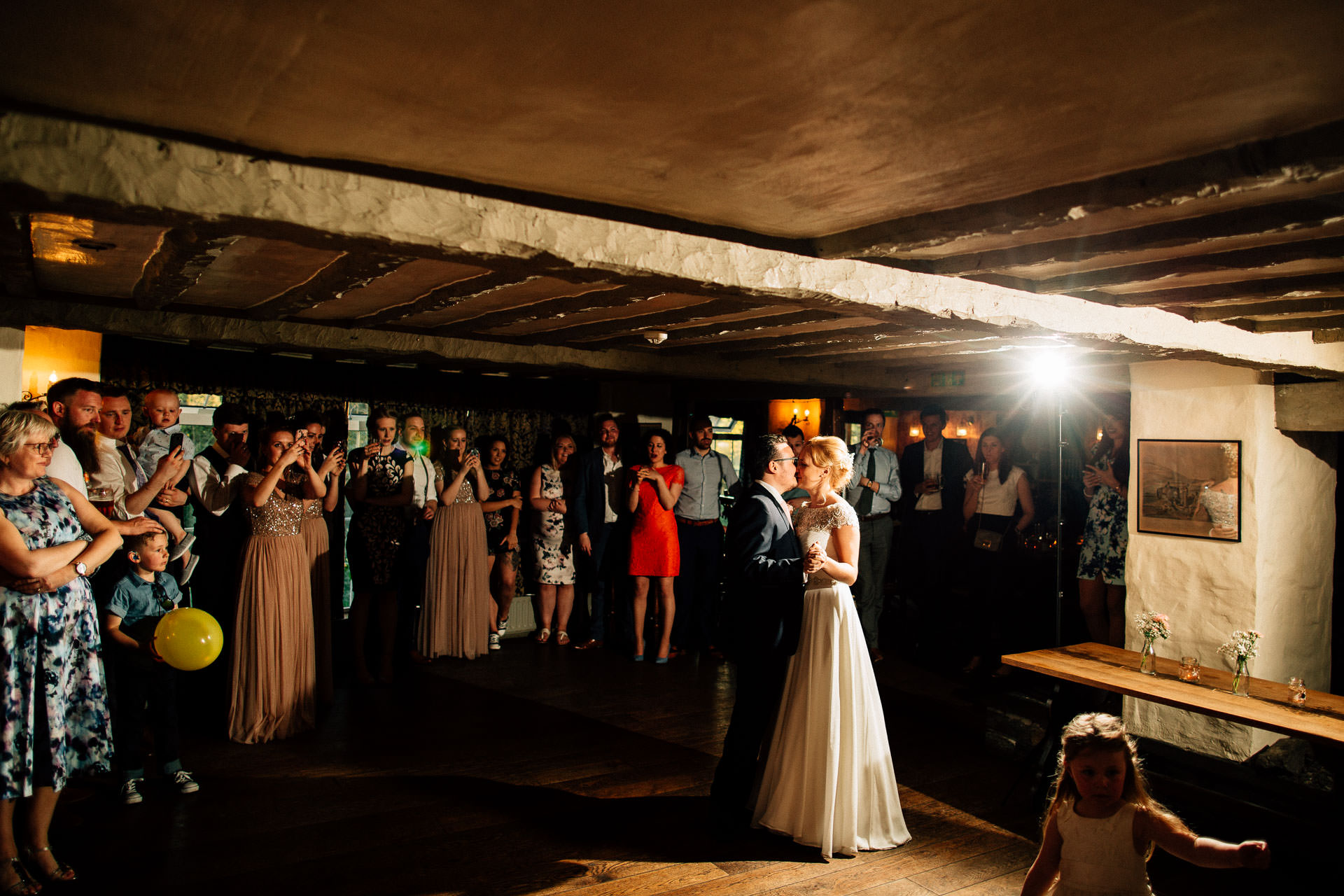 The Wild Boar Wedding Photography - EM - wide shot of couple's first dance