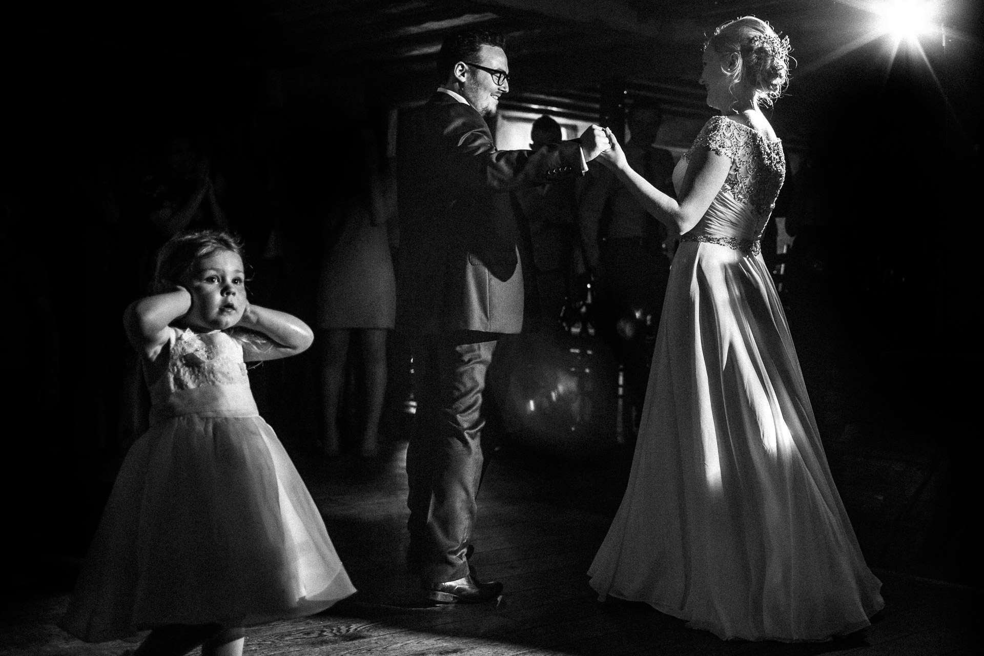 The Wild Boar Wedding Photography - EM - wide shot of couples first dance with girl