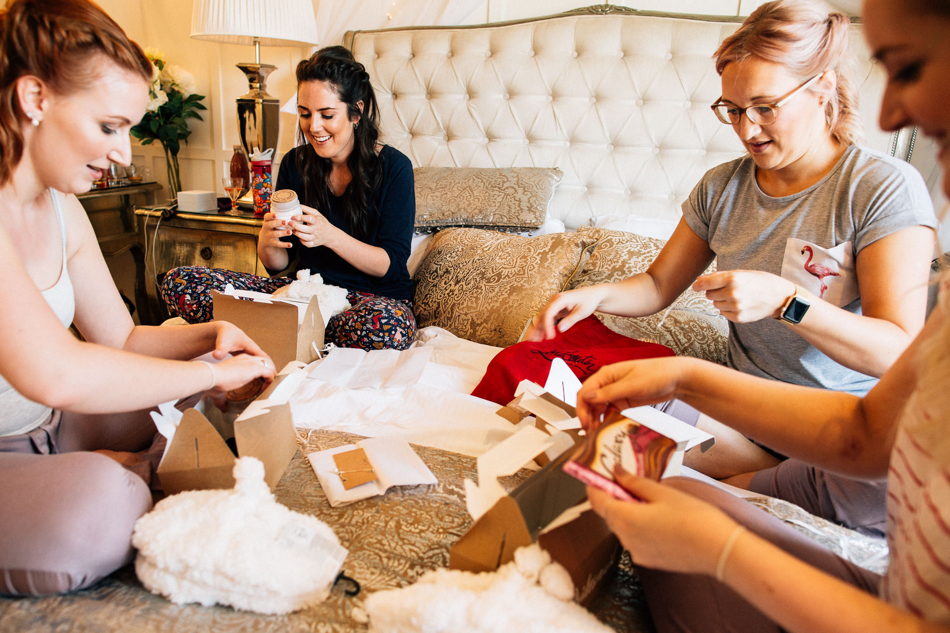 The Wild Boar Wedding Photography - EM - bridesmaids opening gifts